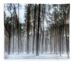 Winter Light In A Forest With Dancing Trees Fleece Blanket