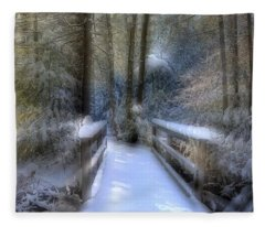Winter Light On Bridge Fleece Blanket