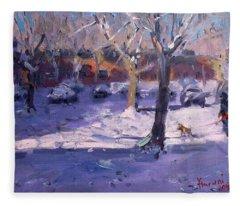 Winter Morning In My Courtyard Fleece Blanket