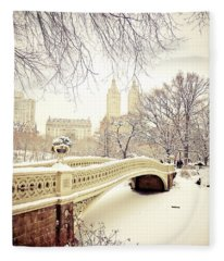 Winter - New York City - Central Park Fleece Blanket