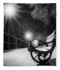 Winter Night Along The River Fleece Blanket