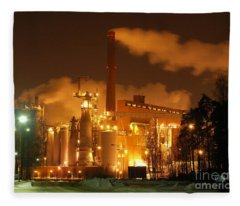 Winter Night At Sunila Pulp Mill Fleece Blanket