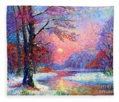 Winter Nightfall, Snow Scene  Fleece Blanket