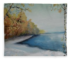 Winter Starts At Kymi River Fleece Blanket