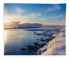 Winter Sunset In Iceland Fleece Blanket