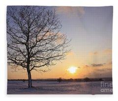 Winter Sunset Uk Fleece Blanket