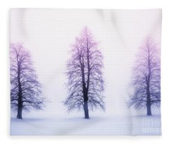 Winter Trees In Fog At Sunrise Fleece Blanket