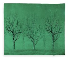 Winter Trees In The Mist Fleece Blanket