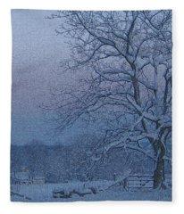 Winter Trees On West Michigan Farm At Sunrise Fleece Blanket