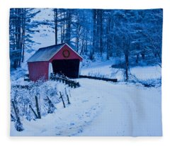 winter Vermont covered bridge Fleece Blanket