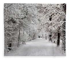 Winter Walk In Fairytale  Fleece Blanket