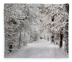Winter Walk In Fairytale  Fleece Blanket