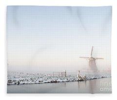 Winter Windmill Landscape In Holland Fleece Blanket