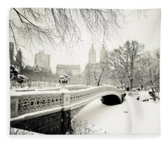 Winter's Touch - Bow Bridge - Central Park - New York City Fleece Blanket