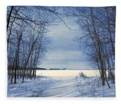 Wintertime At Sheldon Marsh Fleece Blanket