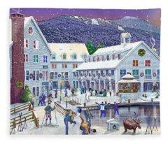 Wintertime At Waterville Valley New Hampshire Fleece Blanket