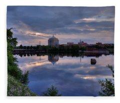 Wisconsin River Reflection Fleece Blanket