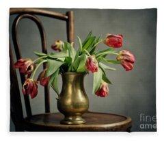 Withered Tulips Fleece Blanket