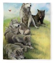 Wolf Gathering Lazy Fleece Blanket