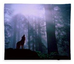 Wolf In The Woods Fleece Blanket