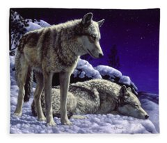 Wolf Painting - Night Watch Fleece Blanket