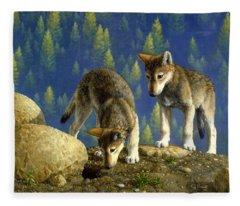 Wolf Pups - Anybody Home Fleece Blanket