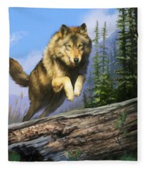 Wolf Run Fleece Blanket