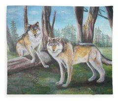 Wolves In The Forest Fleece Blanket