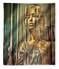 Woman In Glass Fleece Blanket