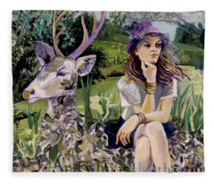Woman In Hat Dreams With Stag Fleece Blanket