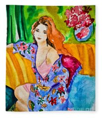 Woman In Silk Kimono Fleece Blanket