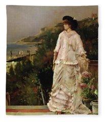 Woman On A Terrace Fleece Blanket