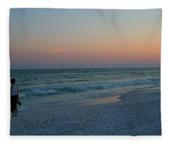 Woman On Beach At Dusk Fleece Blanket