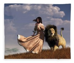 Woman With African Lion Fleece Blanket