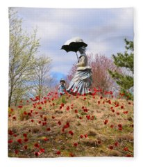 Woman With Parasol And Child Fleece Blanket