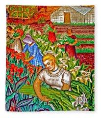 Women Gathering Flowers Fleece Blanket
