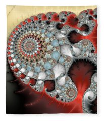 Wonderful Abstract Fractal Spirals Red Grey Yellow And Light Blue Fleece Blanket