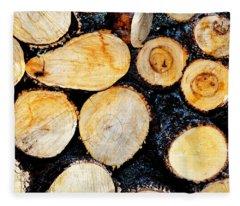 Wood Pile Fleece Blanket