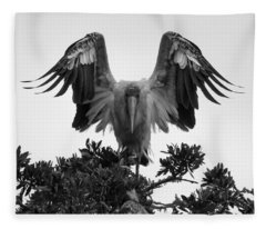 Wood Stork Spread Fleece Blanket