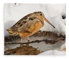 Woodcock In Winter Fleece Blanket