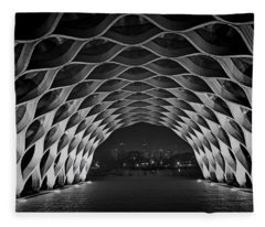 Wooden Archway With Chicago Skyline In Black And White Fleece Blanket