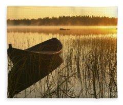 Wooden Boat Fleece Blanket