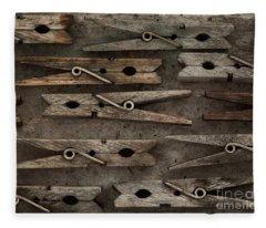 Wooden Clothespins Fleece Blanket