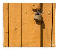 Wooden Plank Door Steel Lock Fleece Blanket
