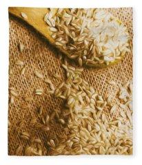 Wooden Tablespoon Serving Of Uncooked Brown Rice Fleece Blanket