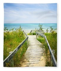 Wooden Walkway Over Dunes At Beach Fleece Blanket