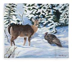 Woodland Creatures Meet Fleece Blanket