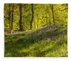 Woodland Of Bluebells Fleece Blanket