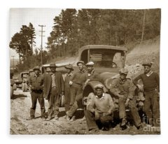 Workers On Highway One Monterey Carmel Hill California 1929 Fleece Blanket