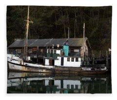 Working Boat Fleece Blanket